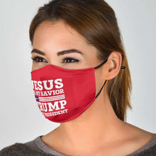 Load image into Gallery viewer, Designs by MyUtopia Shout Out:Jesus Is My Savior Trump is My President Adult Fabric Face Mask with Elastic Ear Loops