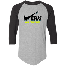 Load image into Gallery viewer, Designs by MyUtopia Shout Out:Jesus Just Praise Him 3/4 Length Sleeve Color block Raglan Jersey T-Shirt,Athletic Heather/Black / S,Long Sleeve T-Shirts