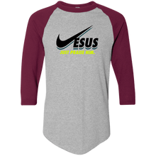 Load image into Gallery viewer, Designs by MyUtopia Shout Out:Jesus Just Praise Him 3/4 Length Sleeve Color block Raglan Jersey T-Shirt,Athletic Heather/Maroon / S,Long Sleeve T-Shirts