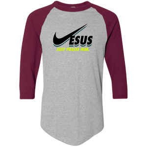Designs by MyUtopia Shout Out:Jesus Just Praise Him 3/4 Length Sleeve Color block Raglan Jersey T-Shirt,Athletic Heather/Maroon / S,Long Sleeve T-Shirts