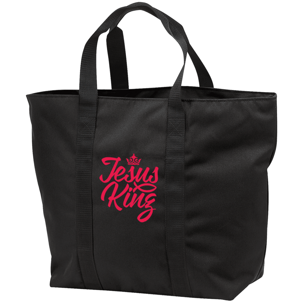 Designs by MyUtopia Shout Out:Jesus King Embroidered All Purpose Tote Bag,Black/Black / One Size,Bags