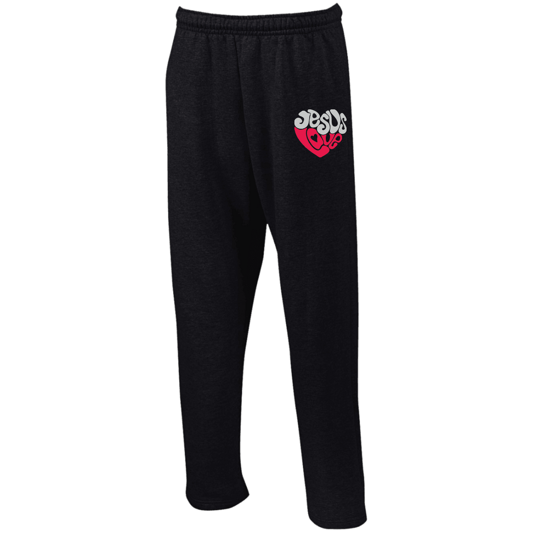 Designs by MyUtopia Shout Out:Jesus Love Heart Embroidered Open Bottom Sweatpants with Pockets,S / Black,Pants