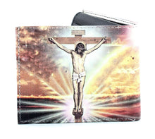 Load image into Gallery viewer, Designs by MyUtopia Shout Out:Jesus On the Cross Christian Faith Vegan Leather Bifold Men's Wallet with Flip Up ID Window