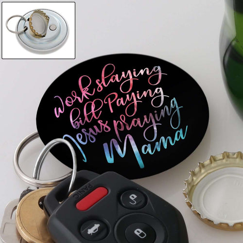 Designs by MyUtopia Shout Out:Jesus Praying Mama Magnetic Key chain and bottle opener