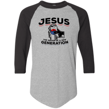Load image into Gallery viewer, Designs by MyUtopia Shout Out:Jesus Savior of New Generation 3/4 Length Sleeve Color block Raglan Jersey T-Shirt,Athletic Heather/Black / S,Adult Unisex T-Shirt