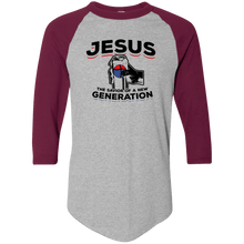 Load image into Gallery viewer, Designs by MyUtopia Shout Out:Jesus Savior of New Generation 3/4 Length Sleeve Color block Raglan Jersey T-Shirt,Athletic Heather/Maroon / S,Adult Unisex T-Shirt