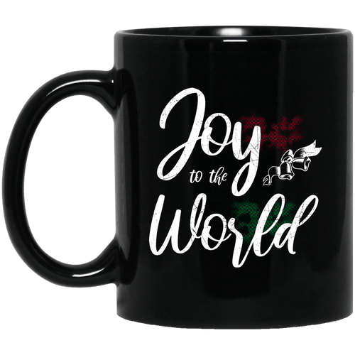Designs by MyUtopia Shout Out:Joy to the World - Ceramic Coffee Mug - Black,Black / 11 oz,Apparel