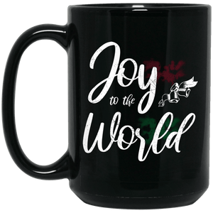 Designs by MyUtopia Shout Out:Joy to the World - Ceramic Coffee Mug - Black,Black / 15 oz,Apparel