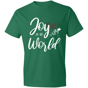 Designs by MyUtopia Shout Out:Joy to the World - Lightweight T-Shirt,Kelly Green / S,Adult Unisex T-Shirt