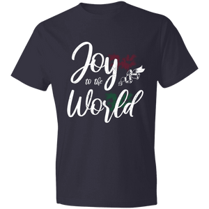 Designs by MyUtopia Shout Out:Joy to the World - Lightweight T-Shirt,Navy / S,Adult Unisex T-Shirt