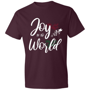 Designs by MyUtopia Shout Out:Joy to the World - Lightweight T-Shirt,Maroon / S,Adult Unisex T-Shirt