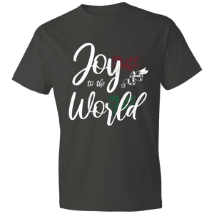Designs by MyUtopia Shout Out:Joy to the World - Lightweight T-Shirt,Smoke / S,Adult Unisex T-Shirt