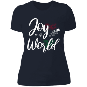 Designs by MyUtopia Shout Out:Joy to the World - Ultra Cotton Ladies' T-Shirt,Midnight Navy / X-Small,Ladies T-Shirts