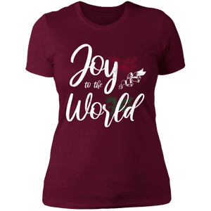 Designs by MyUtopia Shout Out:Joy to the World - Ultra Cotton Ladies' T-Shirt,Maroon / X-Small,Ladies T-Shirts