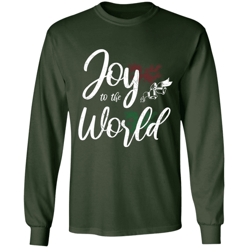 Designs by MyUtopia Shout Out:Joy to the World - Ultra Cotton Long Sleeve T-Shirt,Forest Green / S,Long Sleeve T-Shirts