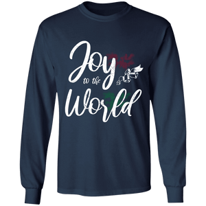 Designs by MyUtopia Shout Out:Joy to the World - Ultra Cotton Long Sleeve T-Shirt,Navy / S,Long Sleeve T-Shirts