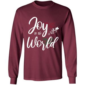 Designs by MyUtopia Shout Out:Joy to the World - Ultra Cotton Long Sleeve T-Shirt,Maroon / S,Long Sleeve T-Shirts