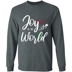Designs by MyUtopia Shout Out:Joy to the World - Ultra Cotton Long Sleeve T-Shirt,Dark Heather / S,Long Sleeve T-Shirts
