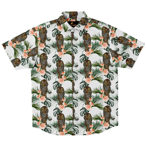 Designs by MyUtopia Shout Out:Jungle Tiger button down dress shirt,XS,Short Sleeve Button Down Shirt - AOP