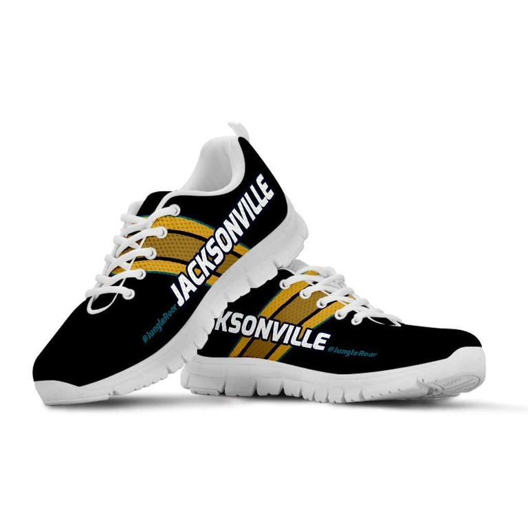Designs by MyUtopia Shout Out:#JungleRoar Jacksonville Fan Running Shoes,Kid's / 11 CHILD (EU28) / Black,Running Shoes