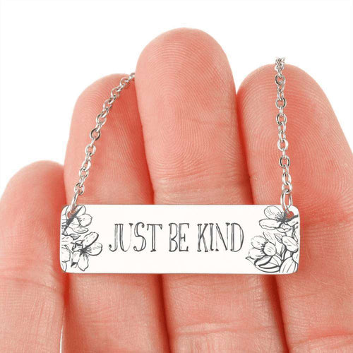 Designs by MyUtopia Shout Out:Just Be Kind Engraved Personalized Horizontal Bar Necklace,316L Stainless Steel / No,Necklace