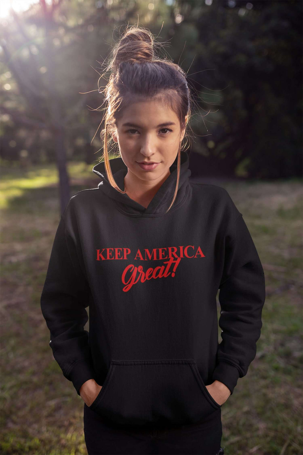 Designs by MyUtopia Shout Out:Keep America Great Core Fleece Pullover Hoodie