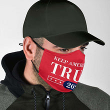 Load image into Gallery viewer, Designs by MyUtopia Shout Out:Keep America Great Trump 2020 Adult Fabric Face Mask with Elastic Ear Loops