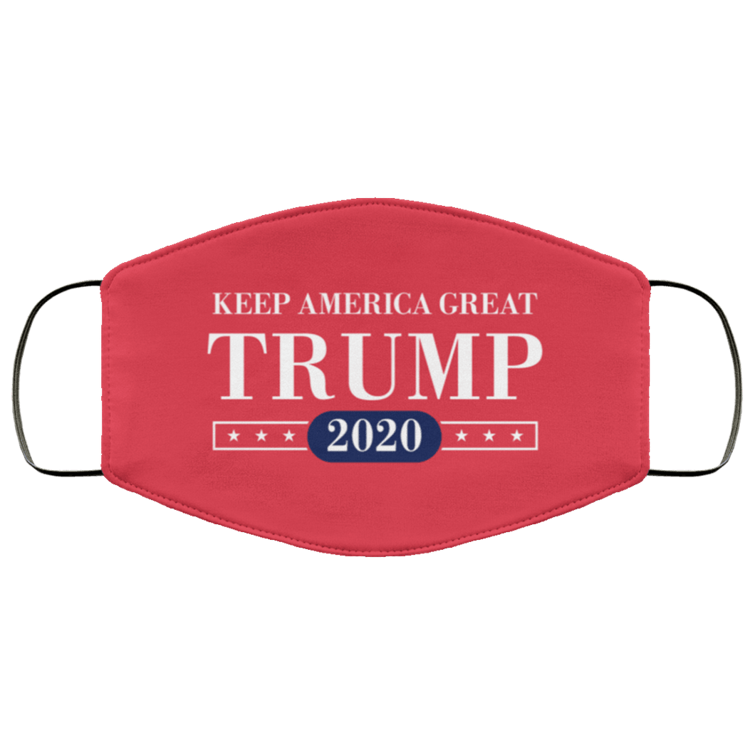 Designs by MyUtopia Shout Out:Keep America Great Trump 2020 Adult Fabric Face Mask with Elastic Ear Loops,3 Layer Fabric Face Mask / Red / Adult,Fabric Face Mask