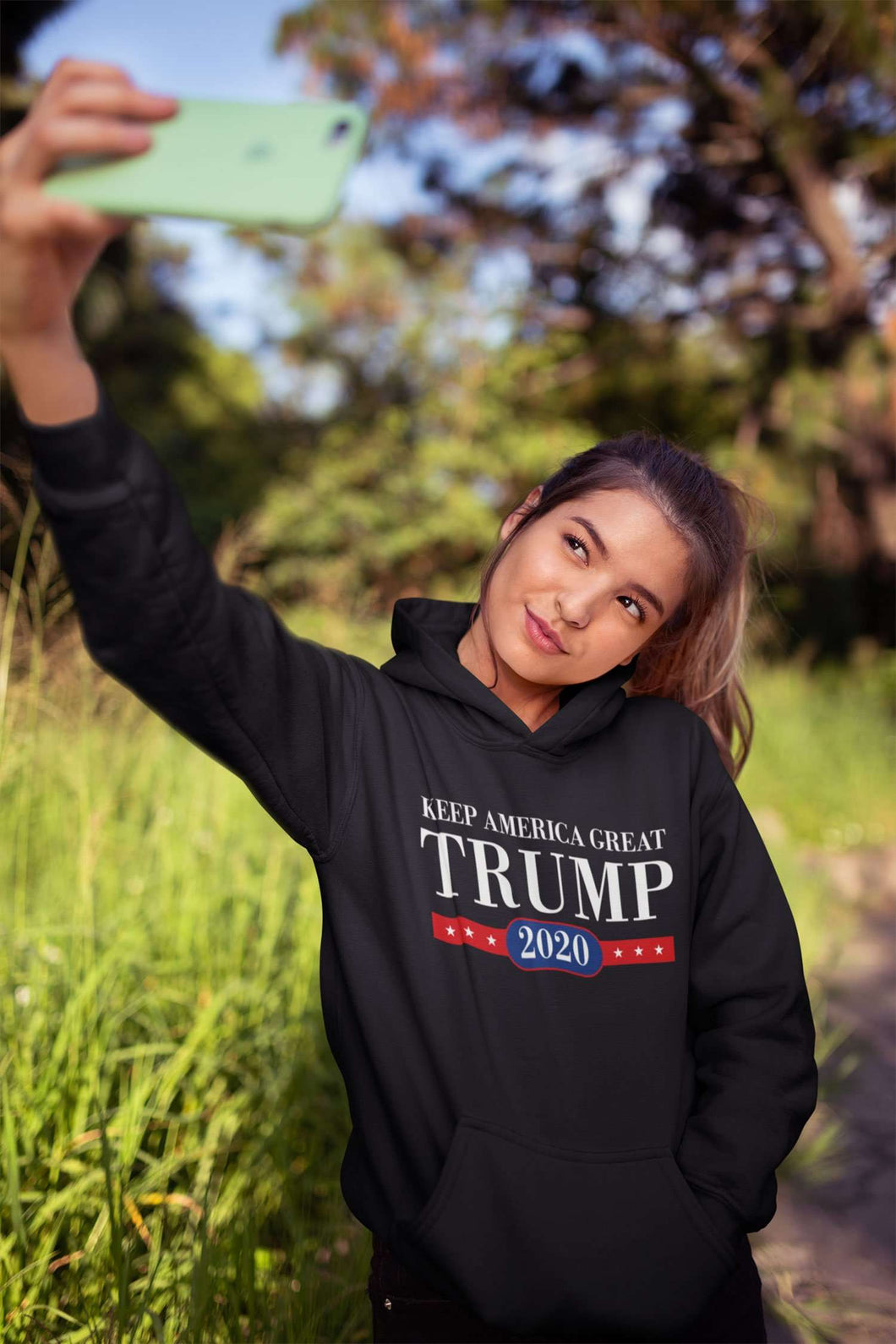 Designs by MyUtopia Shout Out:Keep America Great Trump 2020 Core Fleece Pullover Hoodie