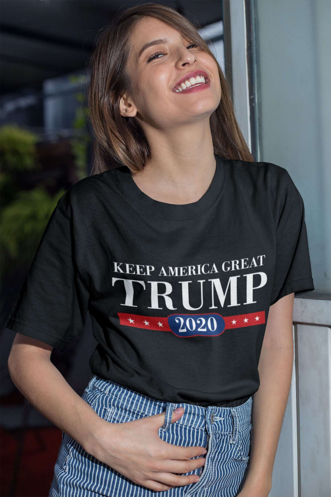Designs by MyUtopia Shout Out:Keep America Great Trump 2020 Unisex Jersey Short-Sleeve T-Shirt