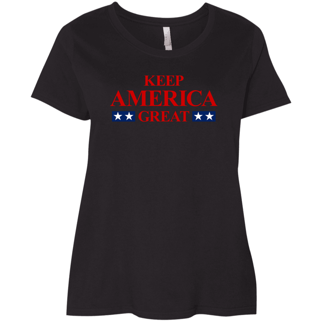 Designs by MyUtopia Shout Out:Keep America Great Trump Ladies' Curvy T-Shirt,Black / Plus 1X,T-Shirts