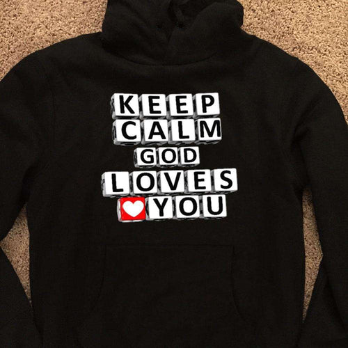 Designs by MyUtopia Shout Out:Keep Calm God Loves You Christian Pullover Hoodie