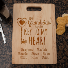 Load image into Gallery viewer, Designs by MyUtopia Shout Out:Key To Grandma's Heart Engraved Cutting Board Personalized Gift,🌟  Best Value 9 3/4″ X 13.5″,Cutting Board