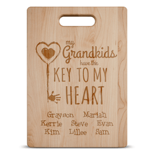 Load image into Gallery viewer, Designs by MyUtopia Shout Out:Key To Grandma's Heart Engraved Cutting Board Personalized Gift
