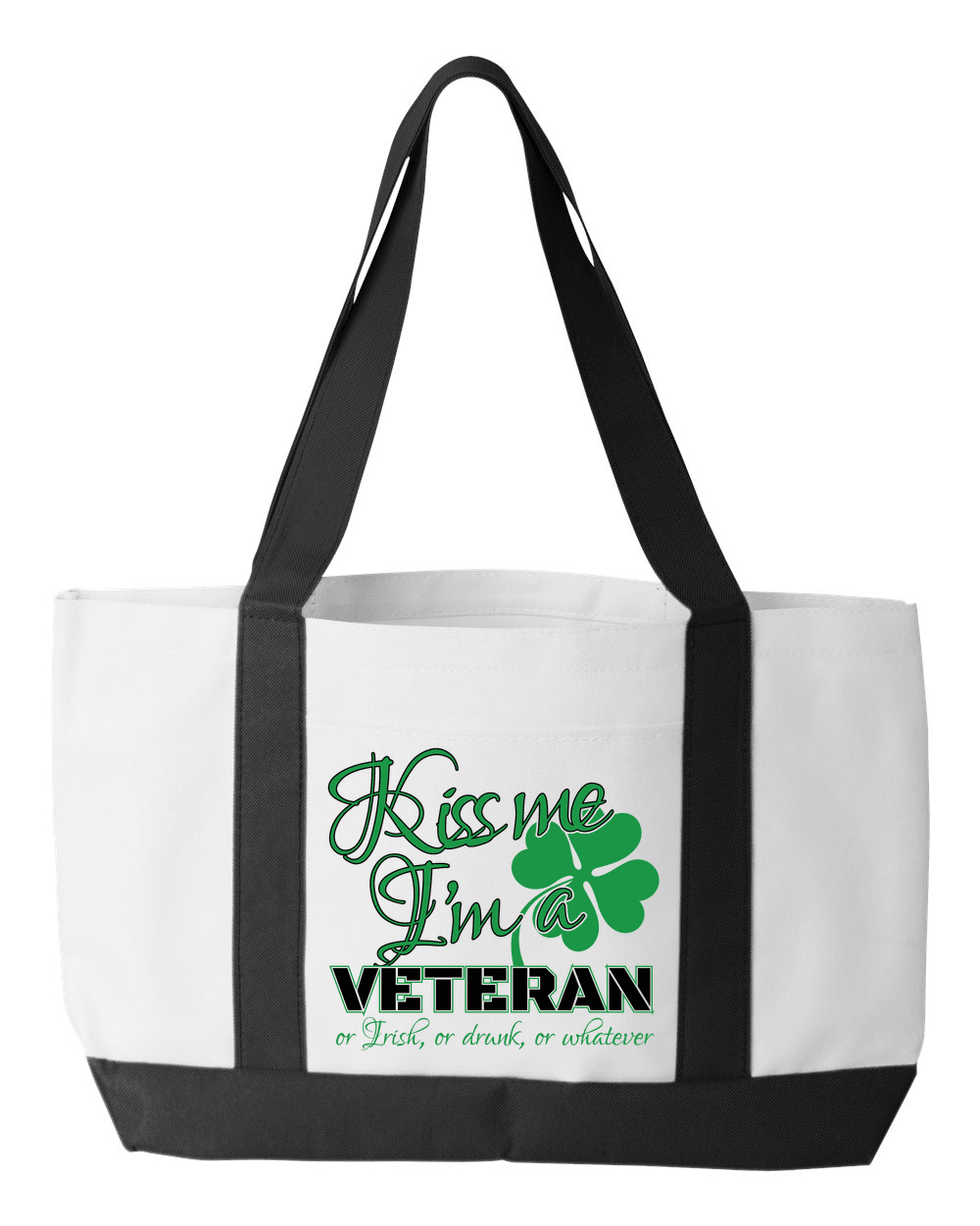 Designs by MyUtopia Shout Out:Kiss Me I'm A Veteran Canvas Totebag Gym / Beach / Pool Gear Bag