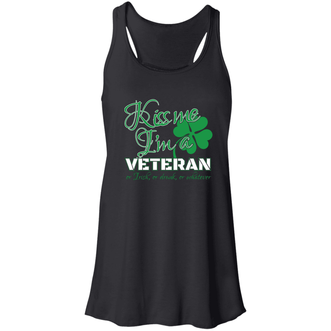 Designs by MyUtopia Shout Out:Kiss Me I'm A Veteran Flowy Racerback Tank,X-Small / Black,Tank Tops