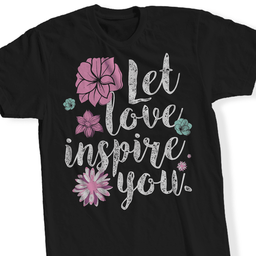Designs by MyUtopia Shout Out:Let Love Inspire You - T Shirt,Short Sleeve / Black / Small,Adult Unisex T-Shirt