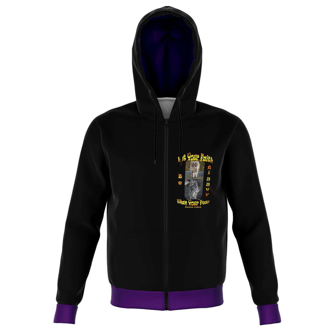 Designs by MyUtopia Shout Out:Let Your Faith Be Bigger Than Your Fear Fashion Zip Hooded Jacket Purple Trim,XS,Fashion Zip-Up Hoodie - AOP