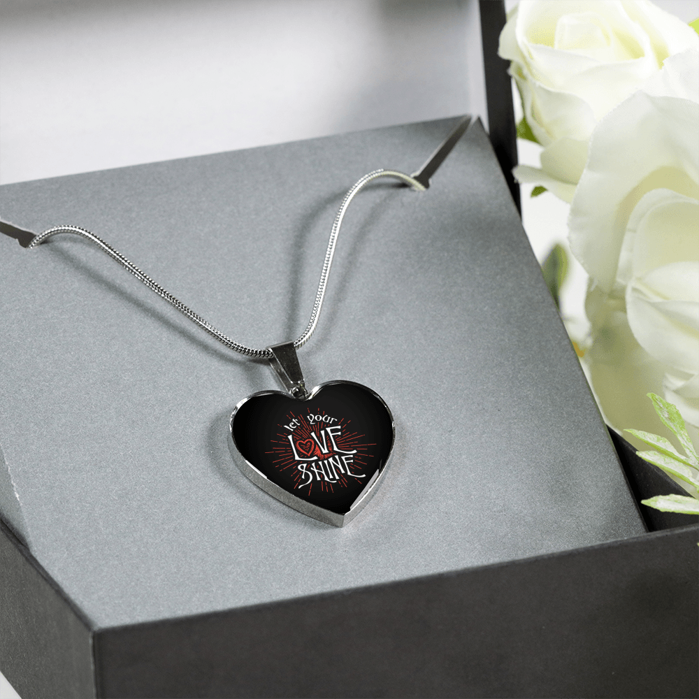 Designs by MyUtopia Shout Out:Let Your Love Shine Heart Bangel,Luxury Adjustable Necklace / No / Black/Silver,Necklace