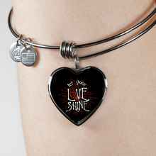 Load image into Gallery viewer, Designs by MyUtopia Shout Out:Let Your Love Shine Heart Bangel,Adjustable Bangle / No / Black/Silver,Necklace