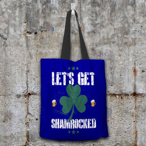Designs by MyUtopia Shout Out:Let's Get Shamrocked Fabric Totebag Reusable Shopping Tote,Navy,Reusable Fabric Shopping Tote Bag