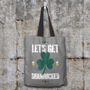 Designs by MyUtopia Shout Out:Let's Get Shamrocked Fabric Totebag Reusable Shopping Tote,Grey,Reusable Fabric Shopping Tote Bag