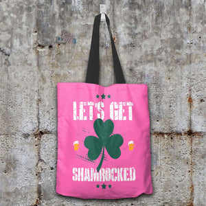 Designs by MyUtopia Shout Out:Let's Get Shamrocked Fabric Totebag Reusable Shopping Tote,Pink,Reusable Fabric Shopping Tote Bag