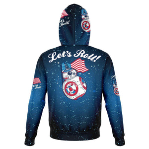 Designs by MyUtopia Shout Out:Lets Roll! Streaming American Flag - Patriotic Droids BB-8 Fashion Hoodie