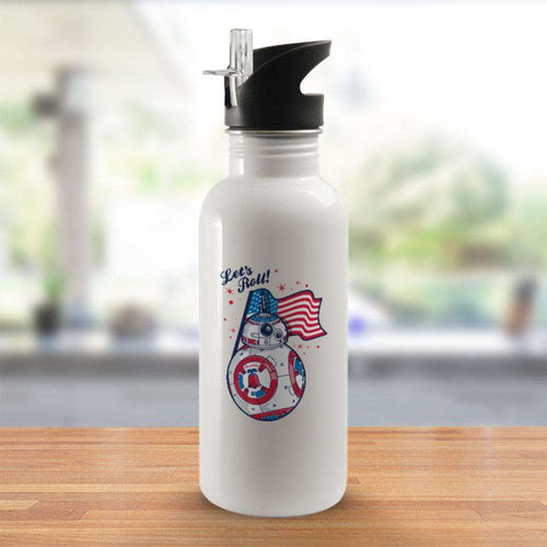 Designs by MyUtopia Shout Out:Lets Roll! Streaming American Flag - Patriotic Droids BB Series Stainless Steel Wide Mouth 20 oz Water Bottle