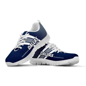 Designs by MyUtopia Shout Out:#LetsGetRowdy Dallas Fan Running Shoes v.2,Kid's / 11 CHILD (EU28) / Navy Blue/Grey,Running Shoes