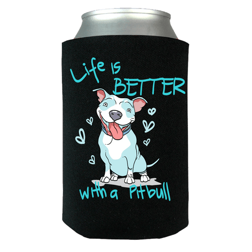 Designs by MyUtopia Shout Out:Life is better with a Pitbull Can Wrap,Black / OS,Can Wrap