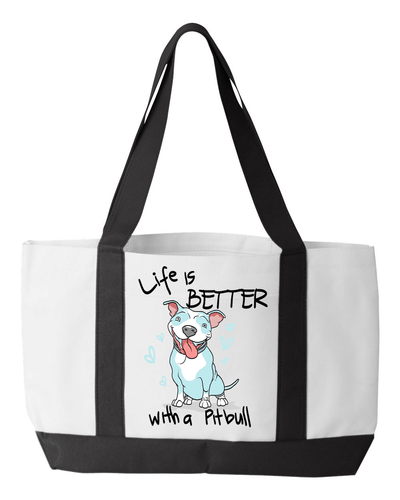 Designs by MyUtopia Shout Out:Life is Better With a Pitbull Canvas Totebag Gym / Beach / Pool Gear Bag,White,Gym Totebag