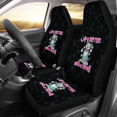 Designs by MyUtopia Shout Out:Life Is Better with a Pitbull Car Seat Covers,Black / Universal Fit,Car Seat Cover