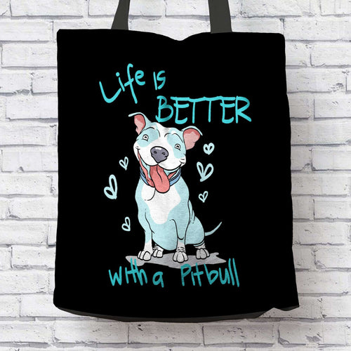 Designs by MyUtopia Shout Out:Life is Better with a Pitbull Cotton Fabric Reusable Shopping Totebag Special Offer,Black,Reusable Fabric Shopping Tote Bag